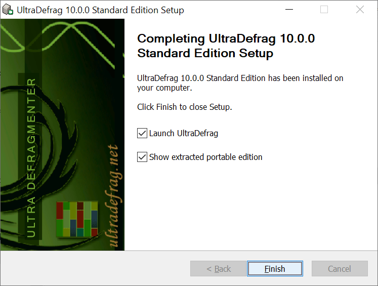 You can select to launch UltraDefrag immediately after the istallation and to show the extracted portable edition of UltraDefrag.